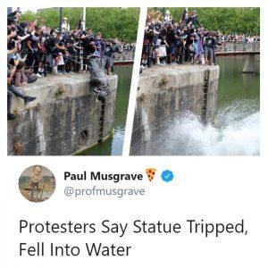 Coston Statue falling